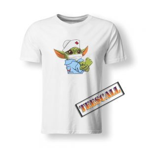Baby Yoda Wearing Scrub Nurse Strong T-Shirt